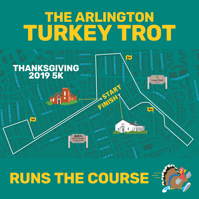 2019 Arlington Turkey Trot T-shirt design