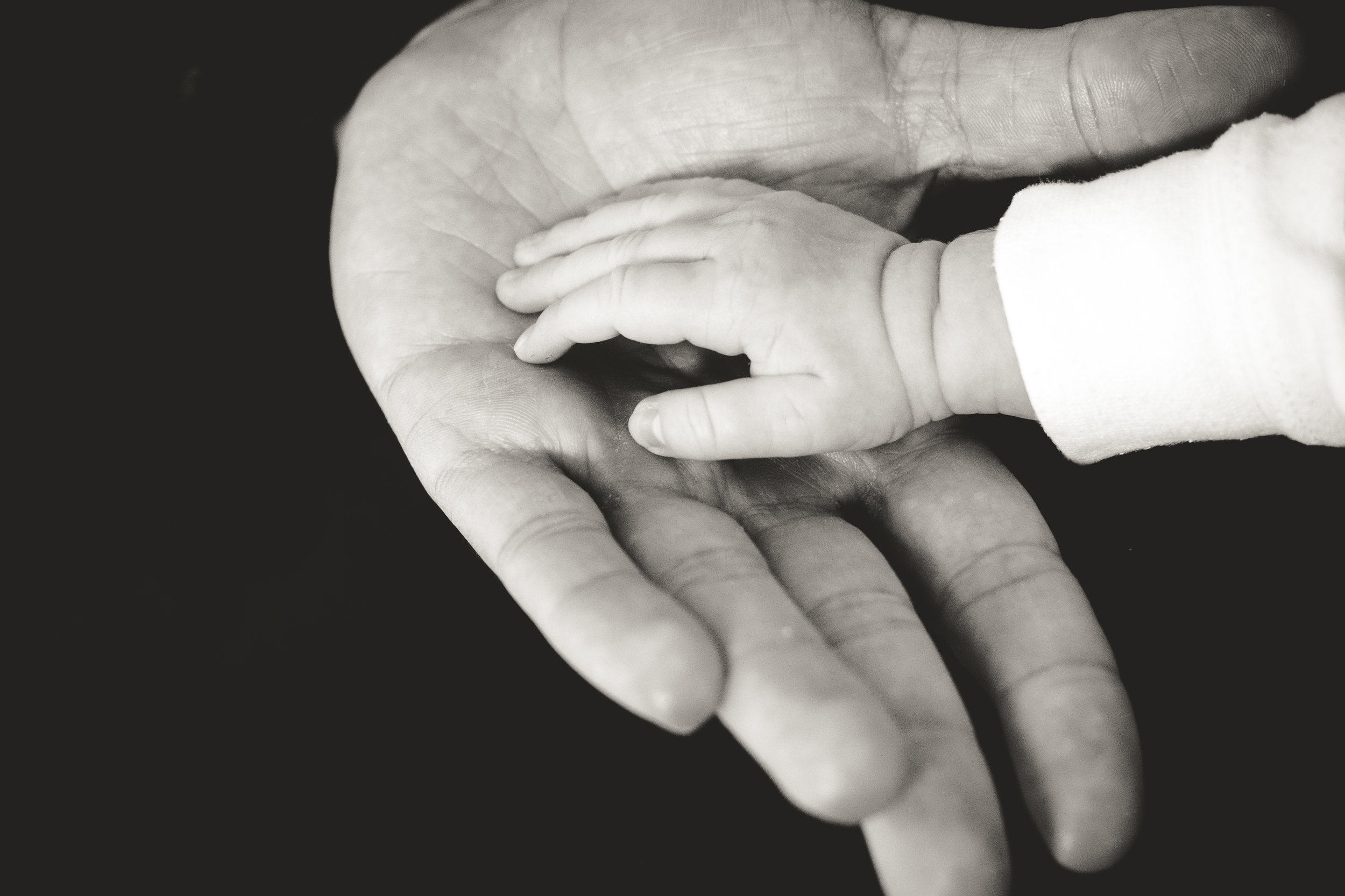 Adult hand and a baby hand