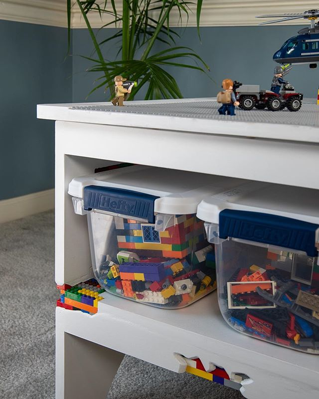 #tbt my first LEGO furniture integration experiment. I really dig how this table came out, and my boys love it too! What do you think of mixing LEGO in with a build? Link in bio if you want to check out the whole build!⠀ .⠀ .⠀ .⠀ #lego #table #legotable #playtable #build #buildvideo #glamourshots #beautyshots #woodworking #memphismade #madeinmemphis #handmade #madebyhand #customfurniture #furniture #makermovement #makersgonnamake
