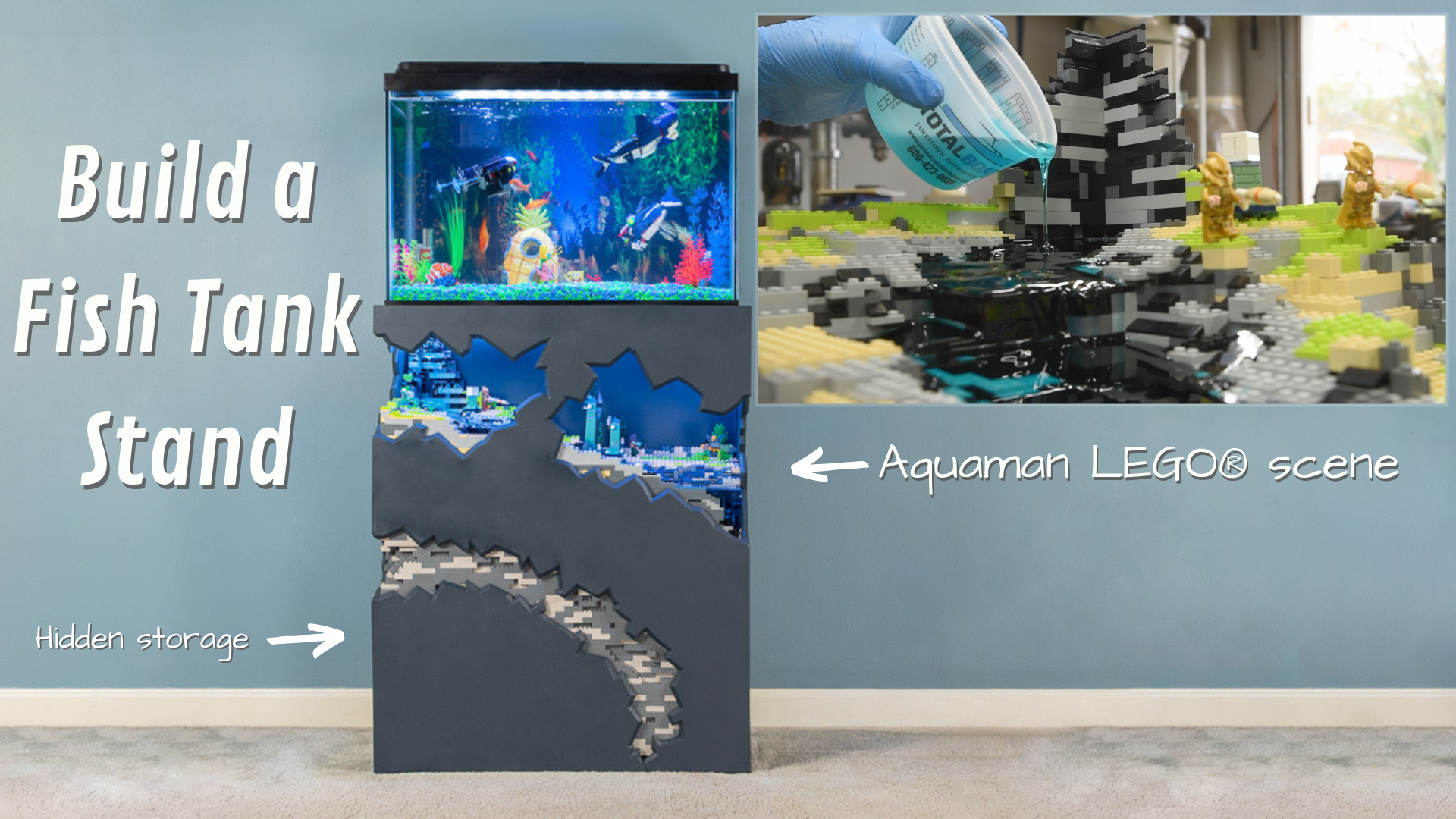 Build a Fish Tank Stand with hidden storage and aquaman lego scene