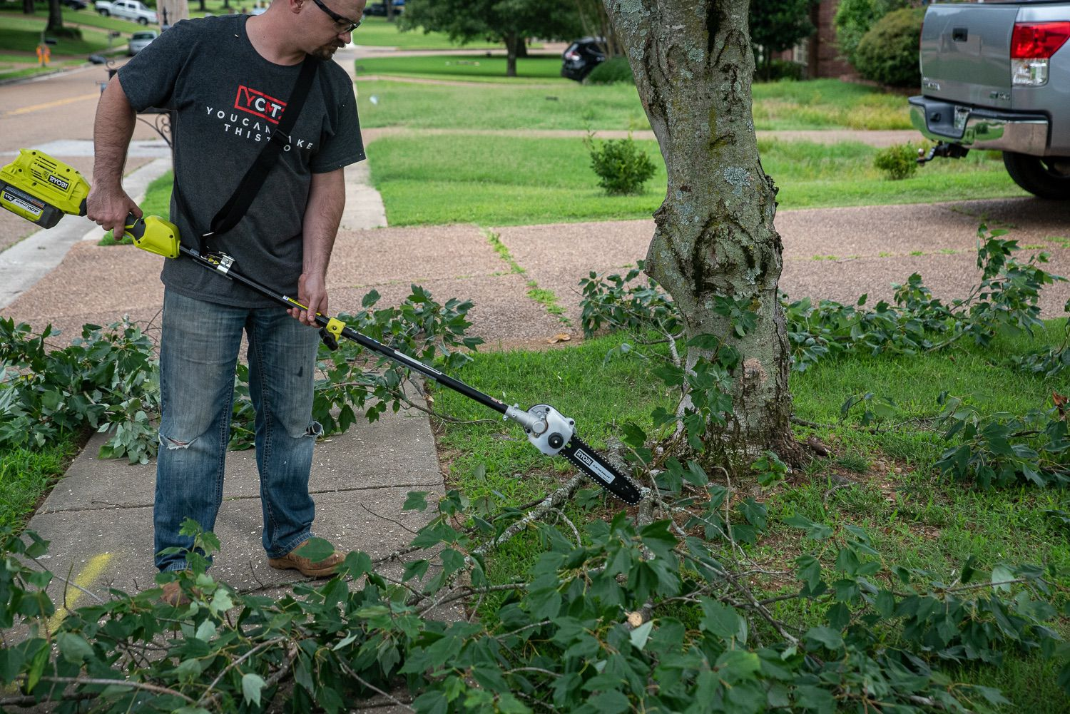 Ryobi Expand-It Pole Saw bucking limbs without the extension pole