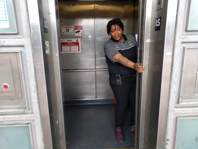 """BART   BART is stationing attendants in the lifts at Civic Center and Powell Street as part of a six-month pilot to put an end to the """"puddles and surprises in the elevators"""
