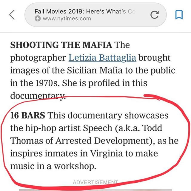 #NYT Fall Preview: Coming soon to theaters in November 2019!  #nyt #theatrical #16barsthefilm #hiphop #musicdocumentary #reentry #recidivism #criminaljusticereform #countryblues #film #documentary