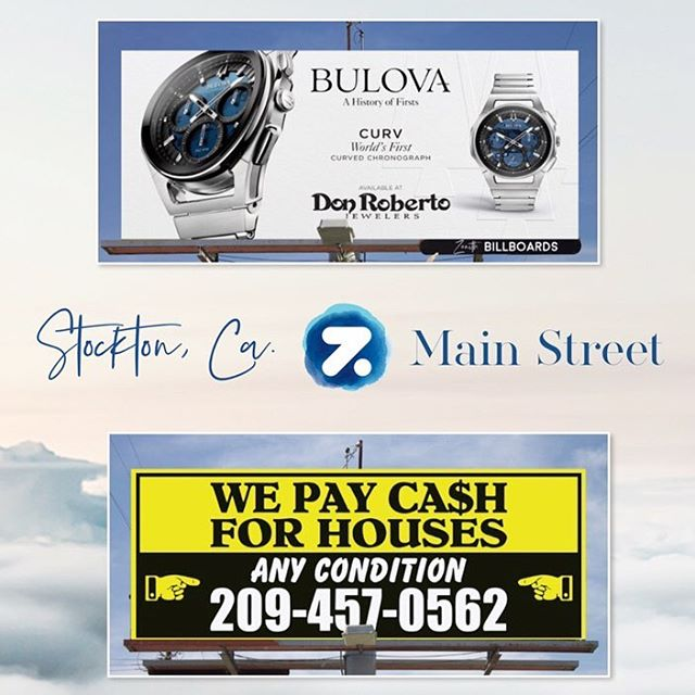 Main Street 🗣 West + East Facing STOCKTON, CA Static bulletin  Size: 10' x 24' ☁️ Visit our website for more information. Link in the bio 🌐 . . . #zenithbillboards #buildyourbrand #StocktonCa #ShopLocal #SupportLocalBusinesses #TMC #Marketing #Advertising #Billboards #DirectMailer #MailboxPostcard #brand #inspiration #Dream #mailbox #grow #exposure #community #inventory #billboards