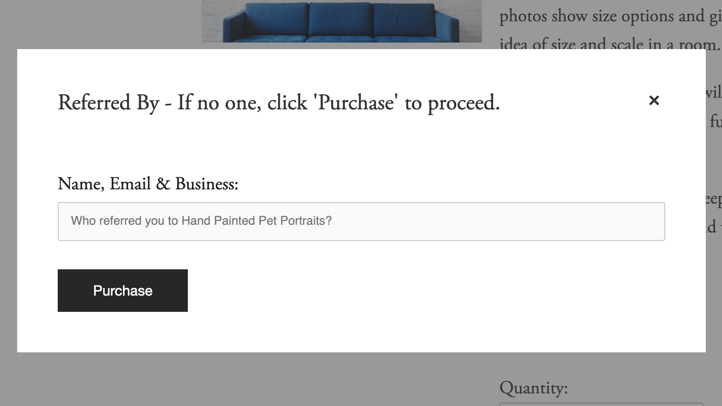 This window pops up during the ordering process. The person ordering  must add your name and email  for you to qualify.
