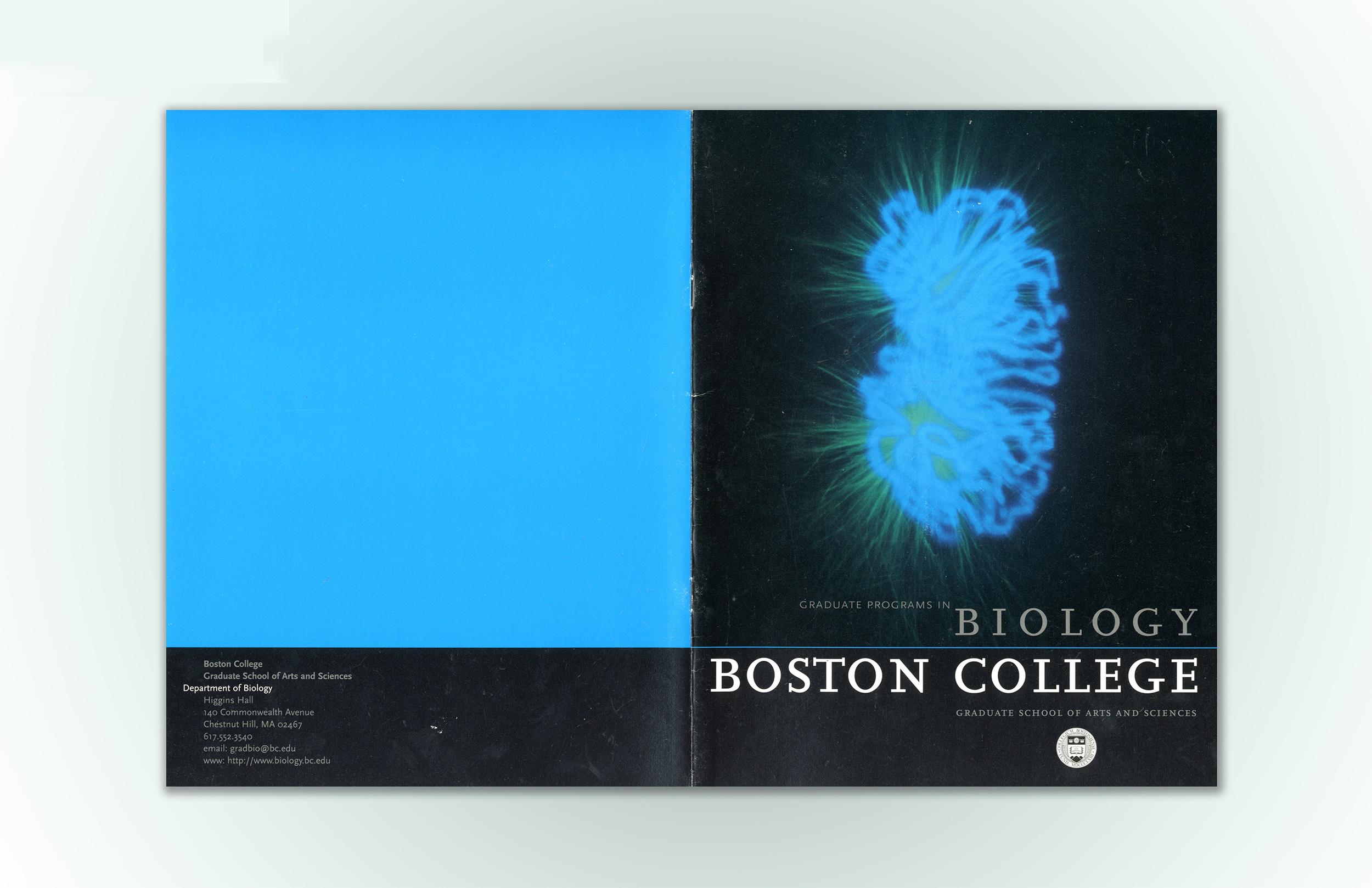 Brochure design for Biology Department of Boston College.