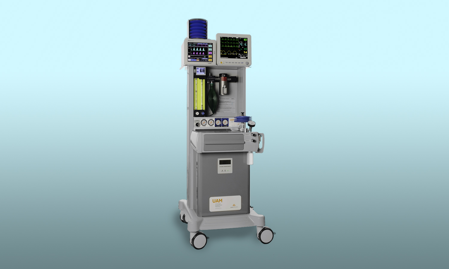 The Universal Anaesthesia Machine (UAM) is the world's first CE-certified anesthesia machine designed to work without electricity and medical oxygen. With a built-in oxygen concentrator, standard connections for other oxygen sources, and key features on battery backup, the UAM uses a combination of continuous-flow and draw-over technologies to deliver general anesthesia safely in any setting.