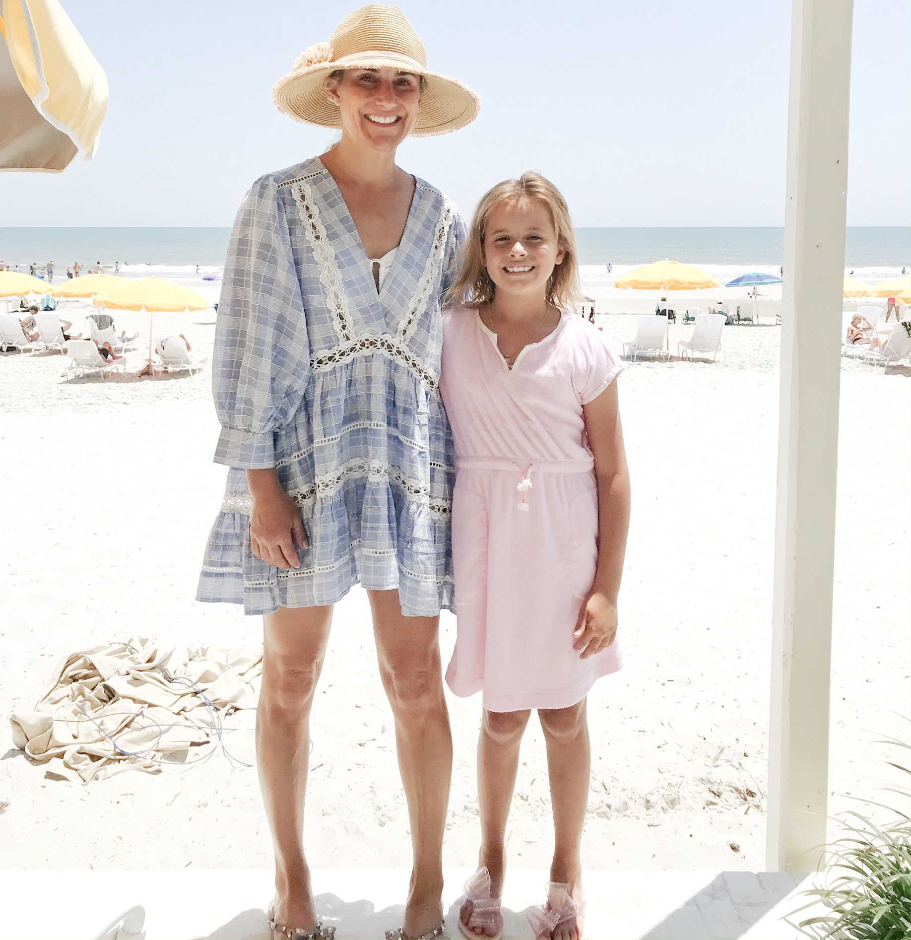 Sun hat    /    pool shoes      but also found    this pair cheap    / blue plaid cover-up free people, can't find exact one, but love    this one      and    this one      /    Caroline's terry cover-up      /    Caroline's bow shoes    and you won't believe how cheap they are!