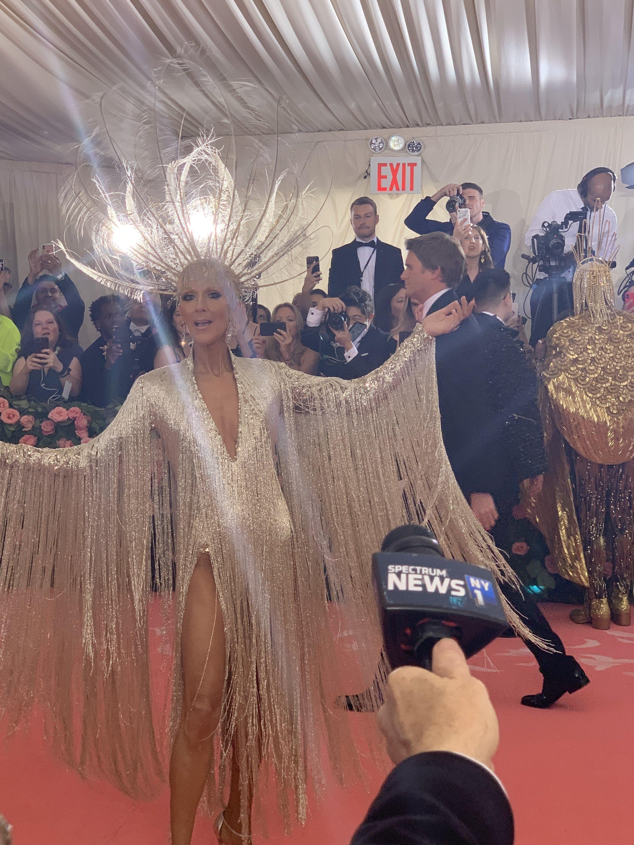 George interviews Celine Dion at the 2019 Met Gala.