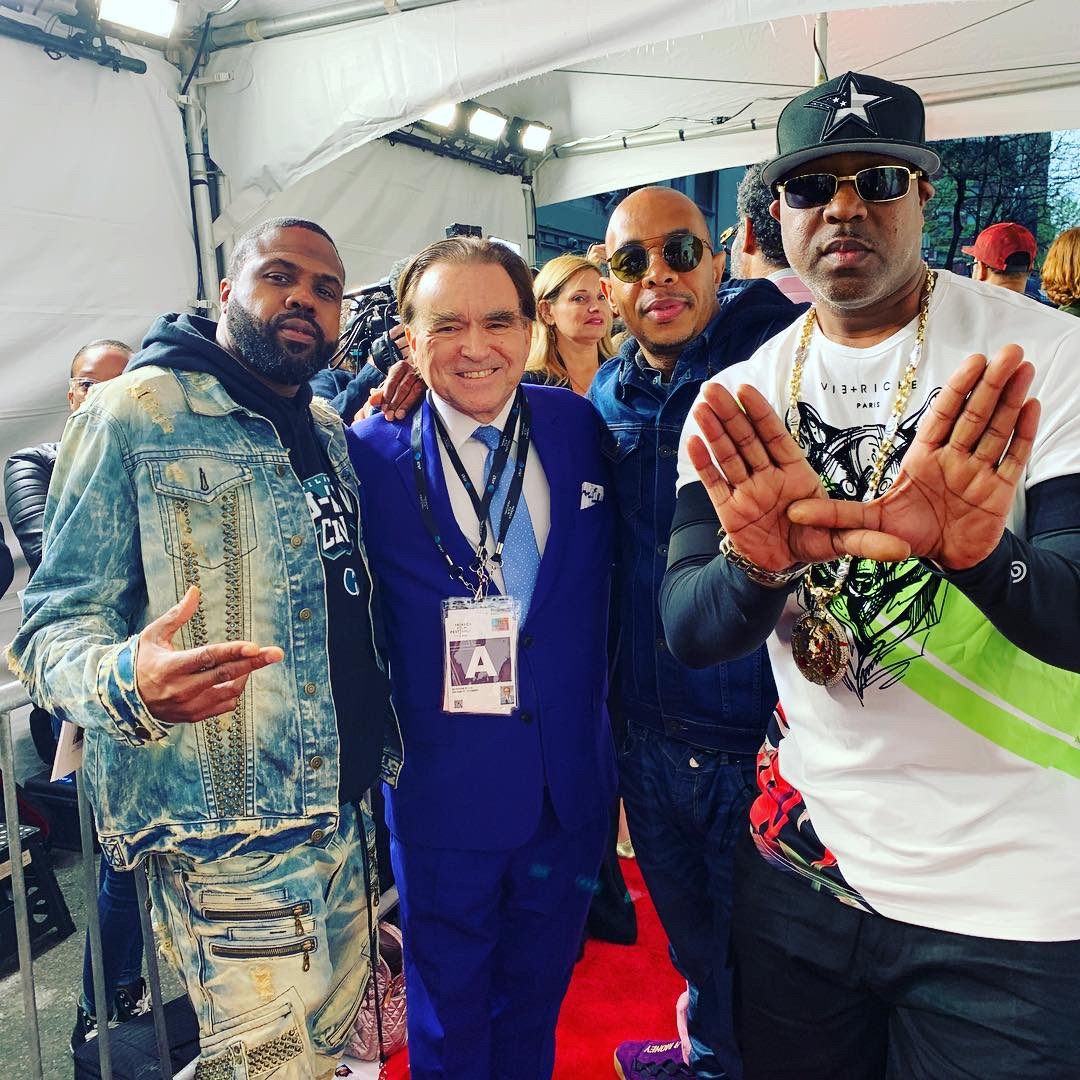 George with Wutang Clan at the Of Mics and Men premiere in April 2019.