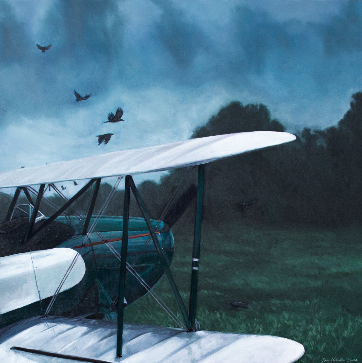 As The Crow Flies - Aviation Painting by Kara Valentino Ffield