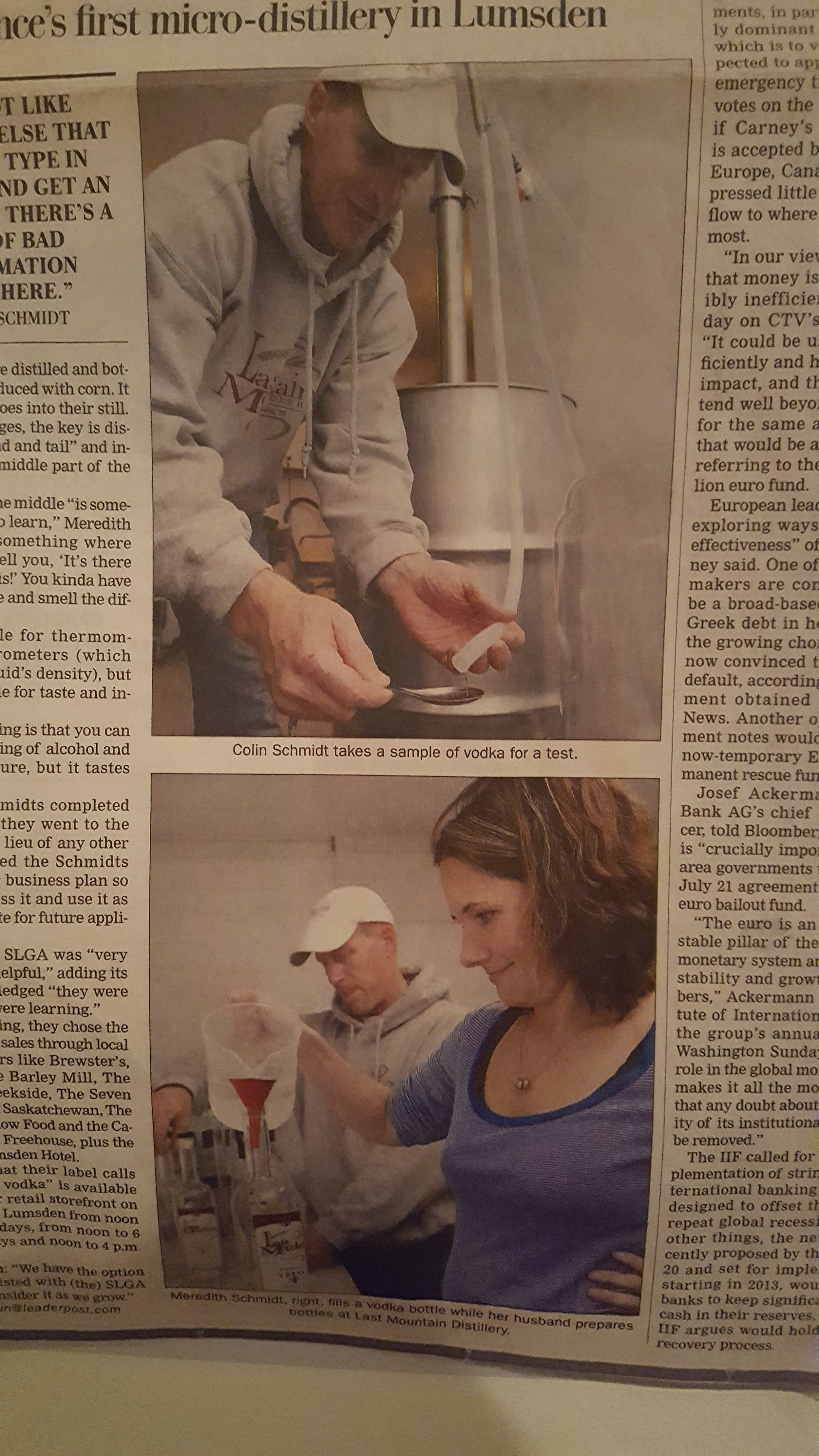 Last Mountain Distillery opens out of Colin and Meredith's garage.
