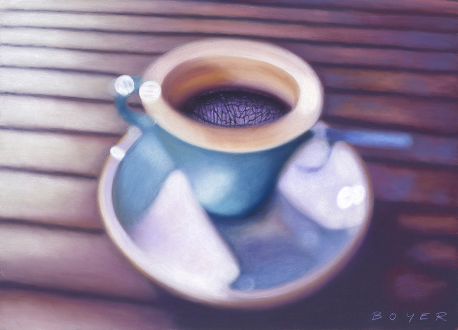 """""""Morning Brew""""  Soft pastel on board. 52x72cm. Framed original.  Archival prints available ."""