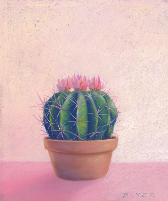 """Quiet Cactus""  Soft pastel on paper. 55x70cm. Framed Original.  Archival prints available ."
