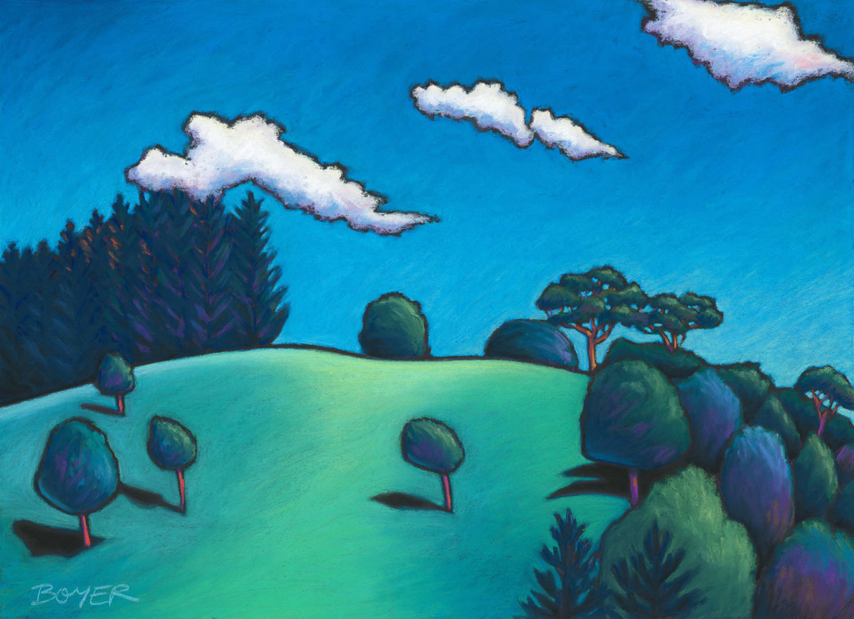 """""""View from Burringbar Creek""""  Soft pastel on board. 72x52cm. Framed original.  Archival prints available ."""