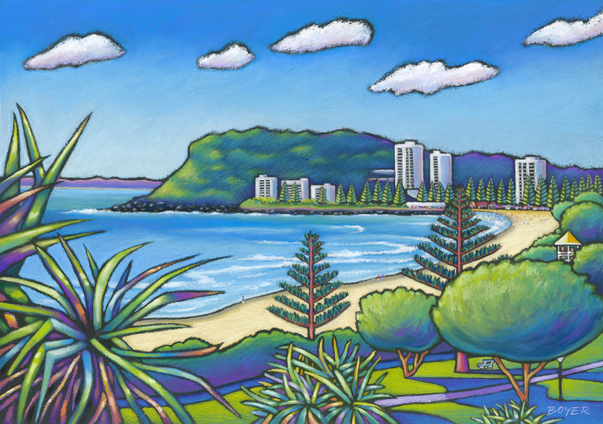 """""""Burleigh Heads""""  Soft pastel on board. 68x48cm. Framed original.  Archival prints available ."""