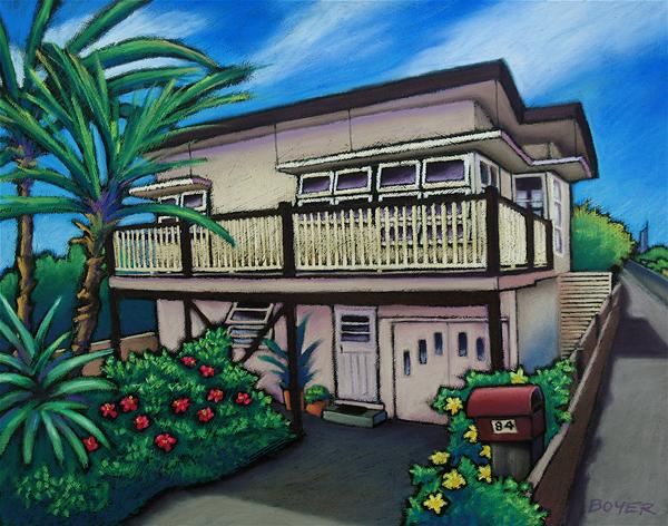 """Vintage Mermaid Beach House""  Soft pastel on paper. 68x52cm. Commission."