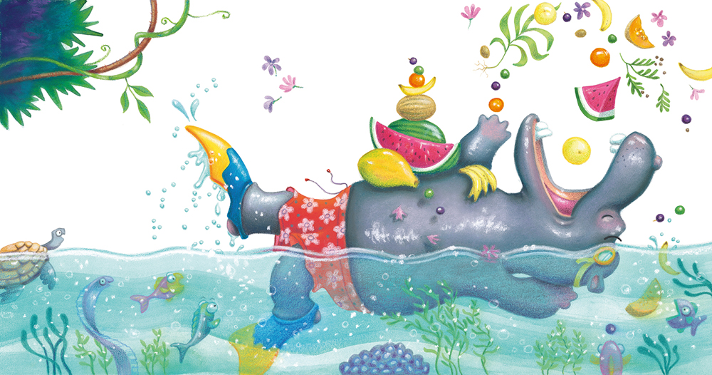 """""""Hippo Breakfast"""" . Soft pastel and watercolour. Children's book illustration from  Animals Rock  published by Scholastic Australia. Unframed original.  Archival prints available ."""