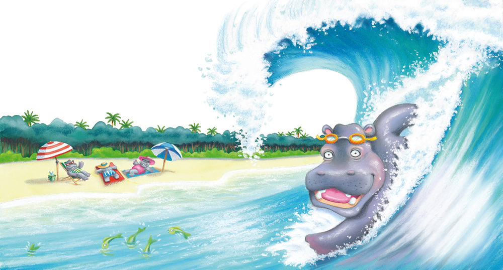 """""""Hippo Bodysurfing"""" . Soft pastel and watercolour. Children's book illustration from  Animals Rock  published by Scholastic Australia. Unframed original.  Archival prints available ."""