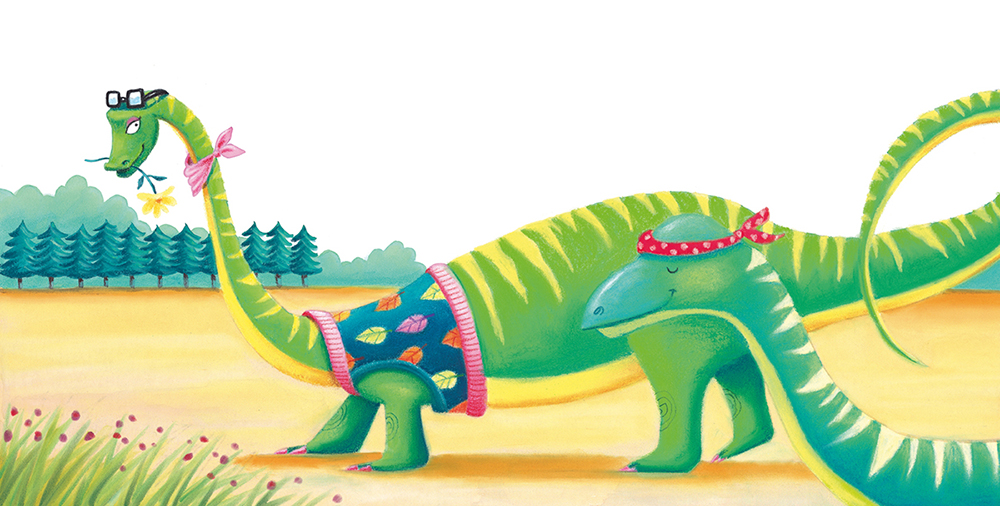 """""""Diplodicus"""" . Soft pastel and watercolour. Children's book illustration from  Dinosaurs Rock  published by Scholastic Australia. Unframed original.  Archival prints available ."""