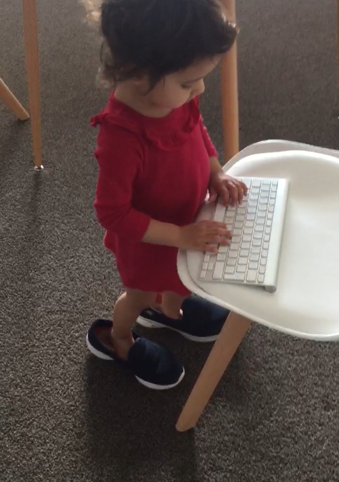 typing while wearing big shoes