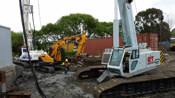 Congested site - steel pile installation underway