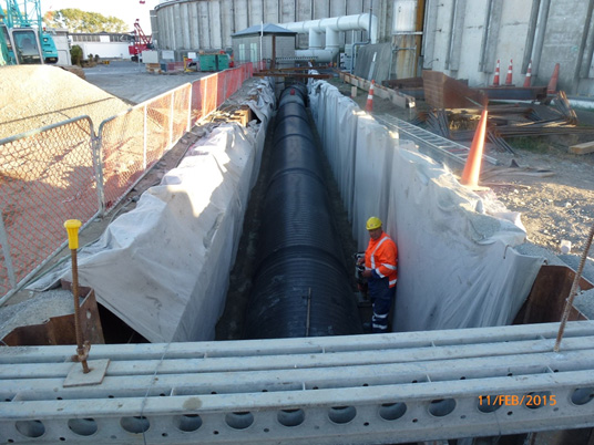 New HDPE outlet pipe work