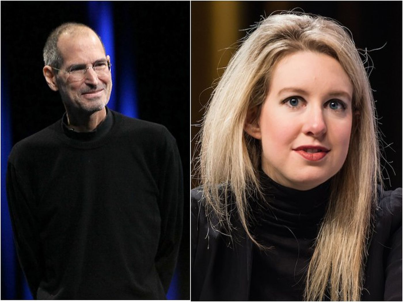 Elizabeth Holmes was obsessed with impersonating Steve Jobs. (Credit: Vox)