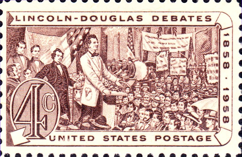 A stamp featuring the renowned Lincoln-Douglass debates