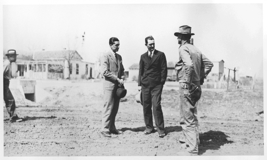 Lyndon Johnson inspecting NYA project as the Texas director in 1935.
