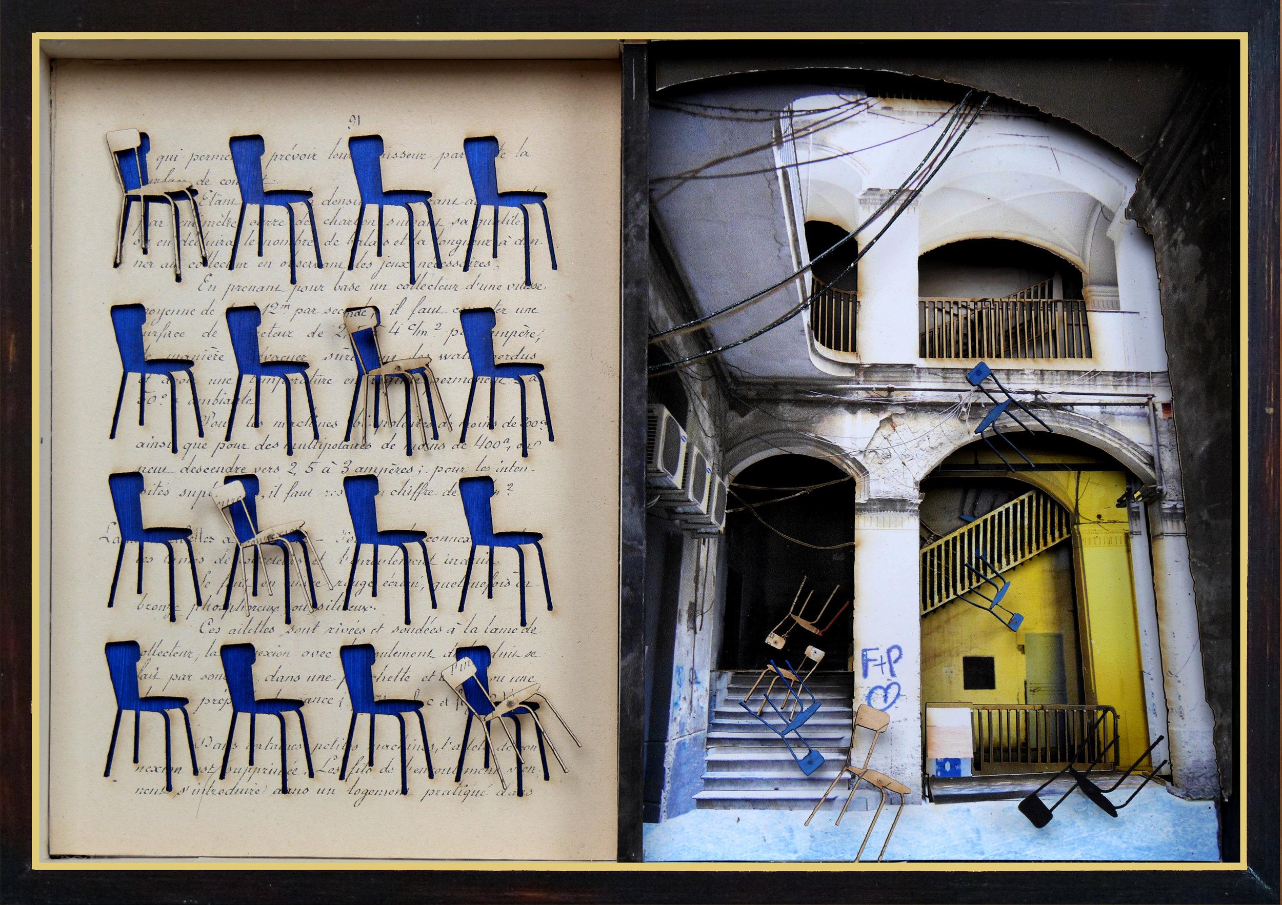 'Dialogue Domestique 91' 3D Collage mixed media
