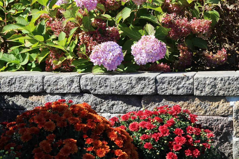Halfmoon, NY landscape design with retaining wall