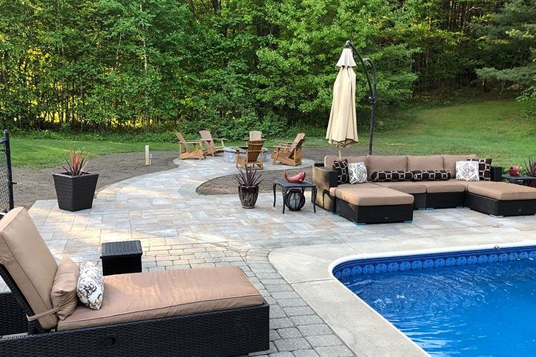 Unilock patios and pool decks in Halfmoon, NY