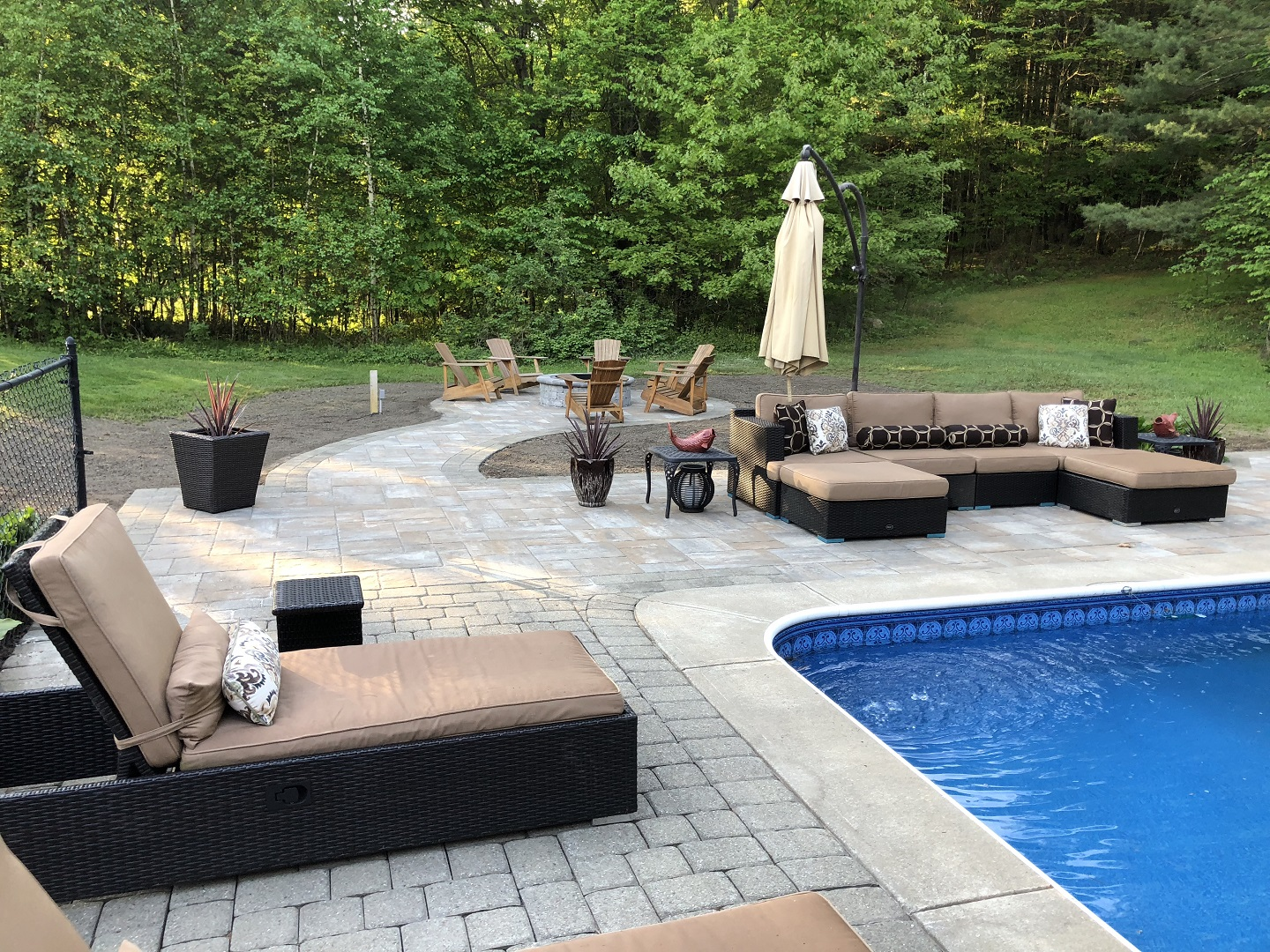 Paver patio with pool in Halfmoon, NY