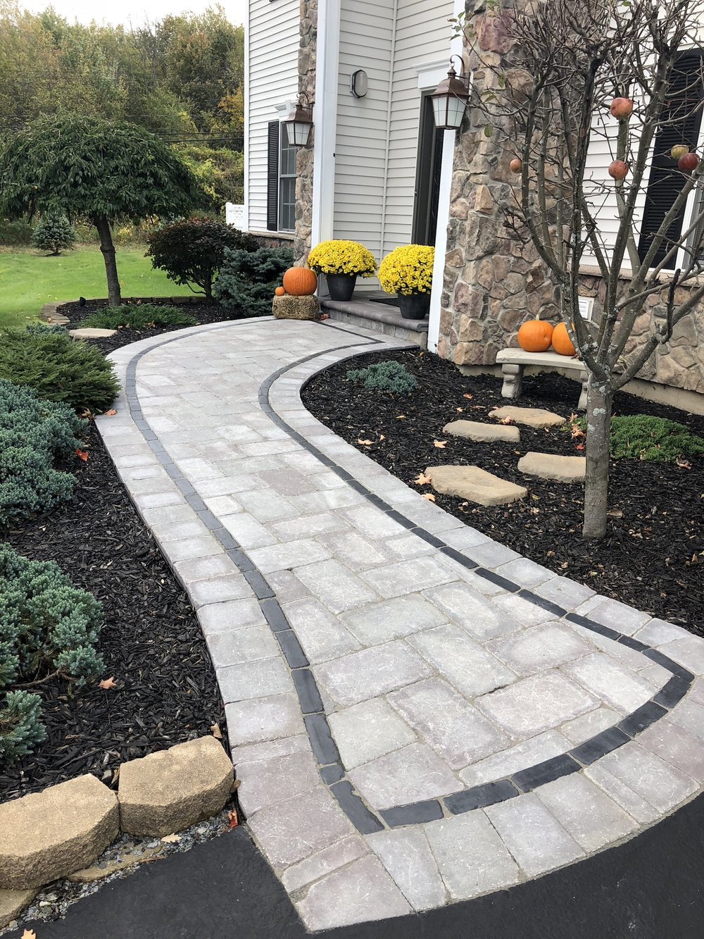Landscape design with walkway in Halfmoon, NY