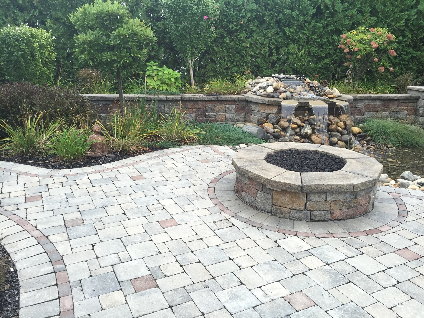Water feature and fire pit in Halfmoon, NY