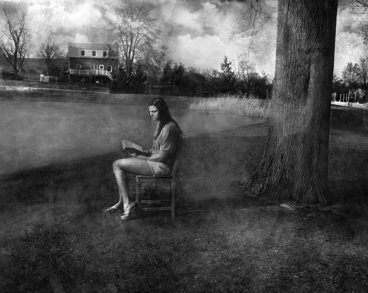 Isabell reading at Anderson Pond    61  x  80    mixed media on panel   2013