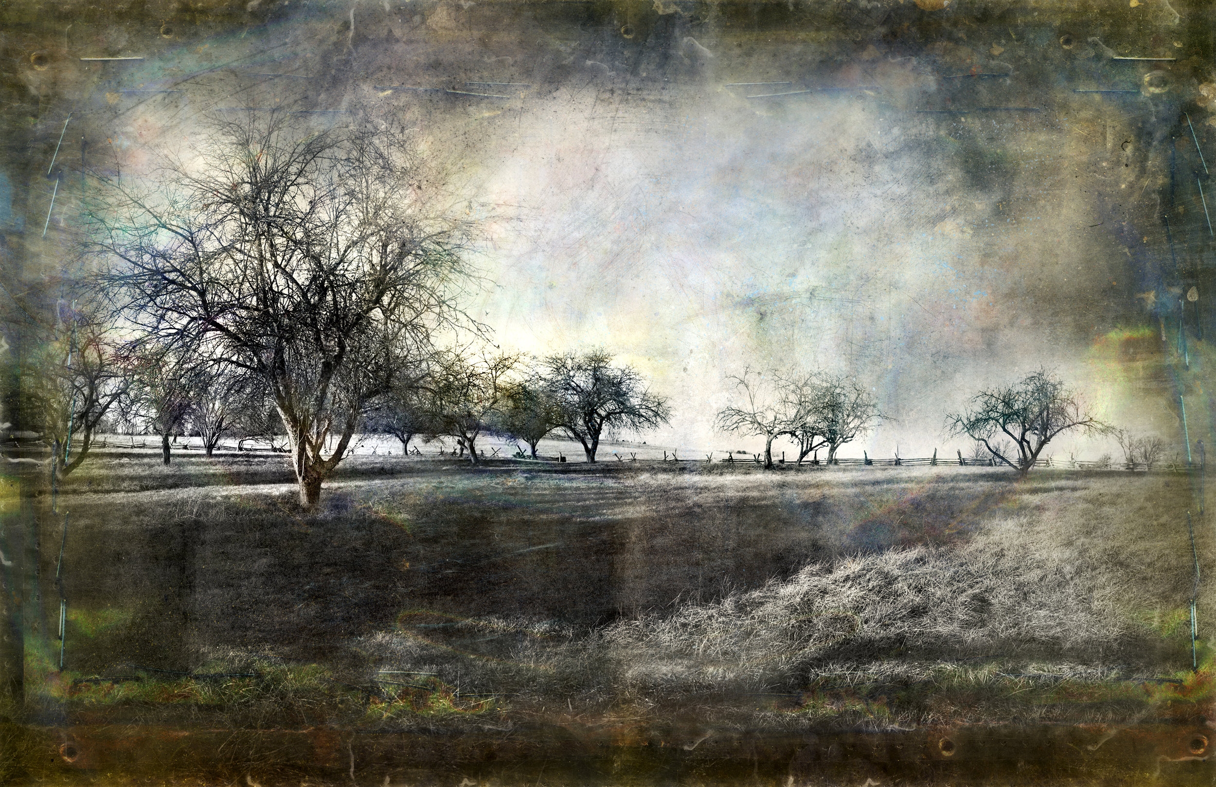 Study Landscape at New Market Battlefield    50 x 100   mixed media on panel    2015