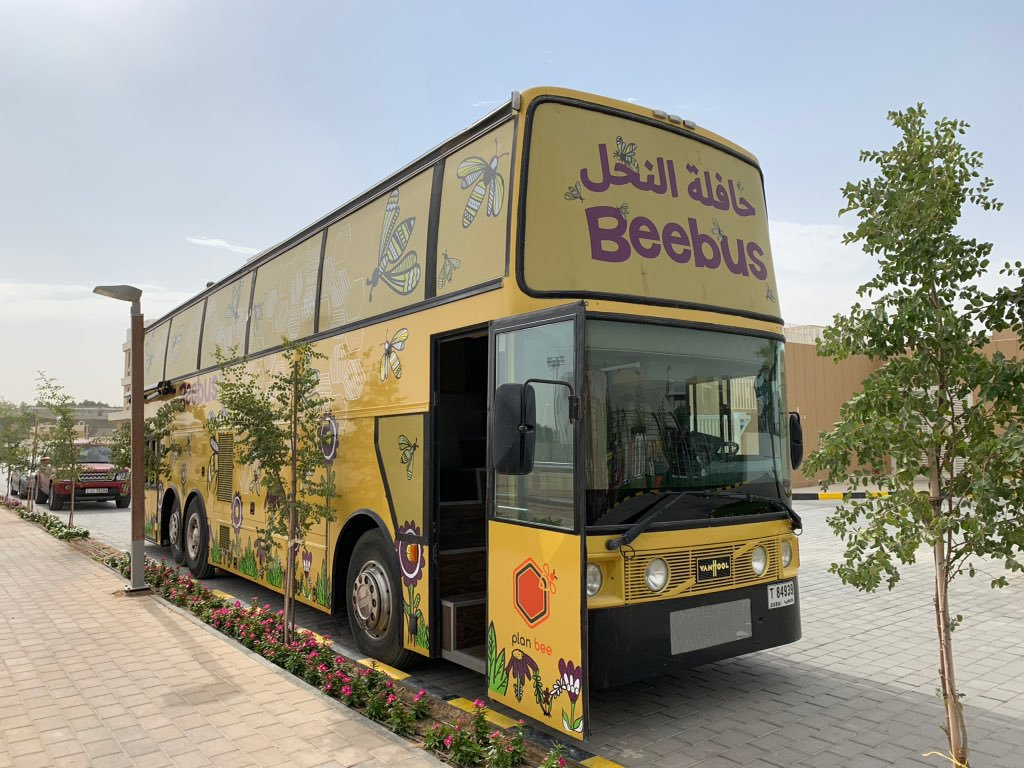 Fuelling the Bee Bus, an educational bus that shows children the importance of bees.