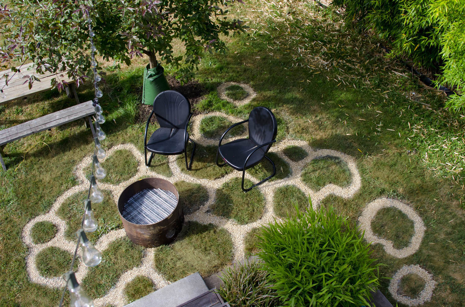 patio; grass and gravel; 14' x 15'; Kuskin-Bell residence, Seattle; 2017