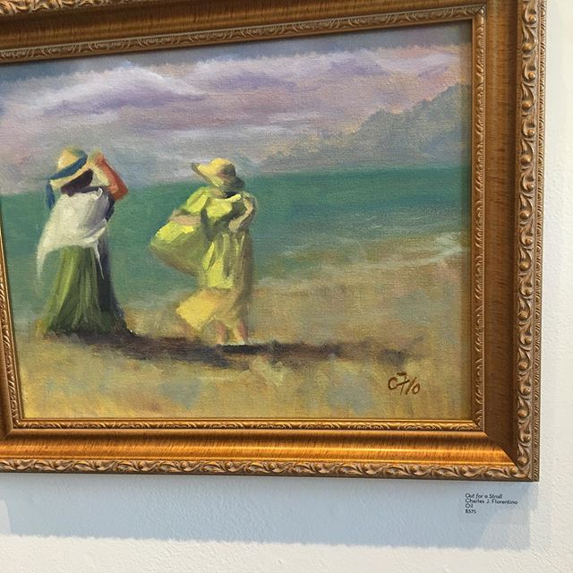 """I could hear the surf and the seagulls when looking at this painting """"Out for a stroll"""" at @brazeestreetstudios gallery yesterday. Artist Charles Florentino #eventplannerforhire #cincinnatieventplanner"""