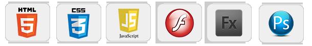 HTML, CCS3, JAVASCRIPT, FLASH, ADOBE FLEX, PHOTOSHOP