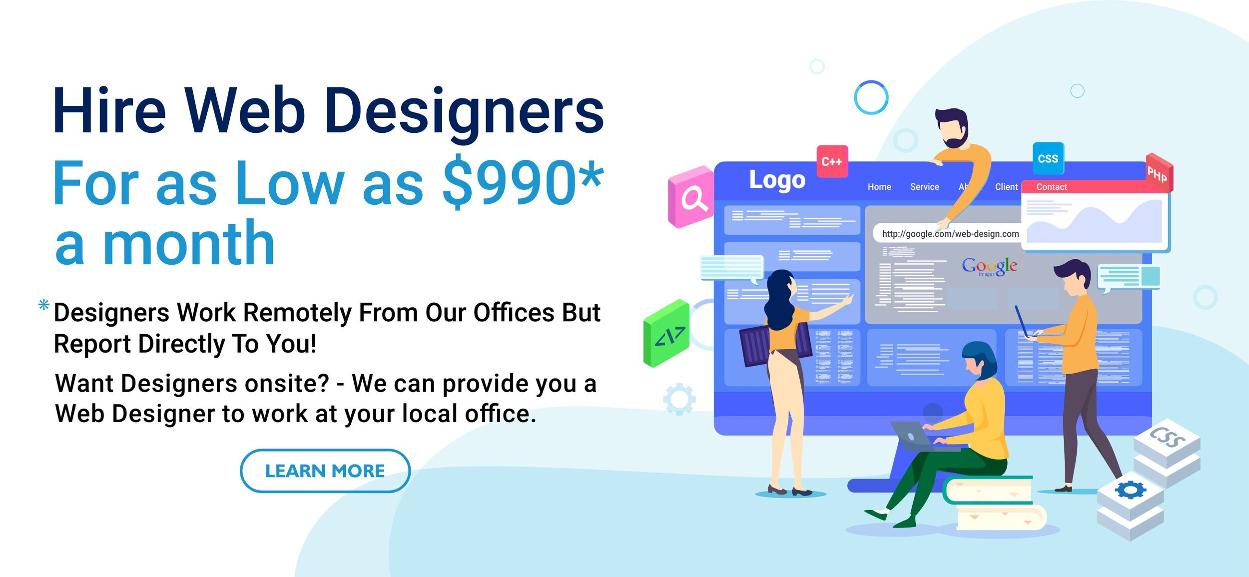Web Designers For Hire At 990 A Month We Design Your Ideas