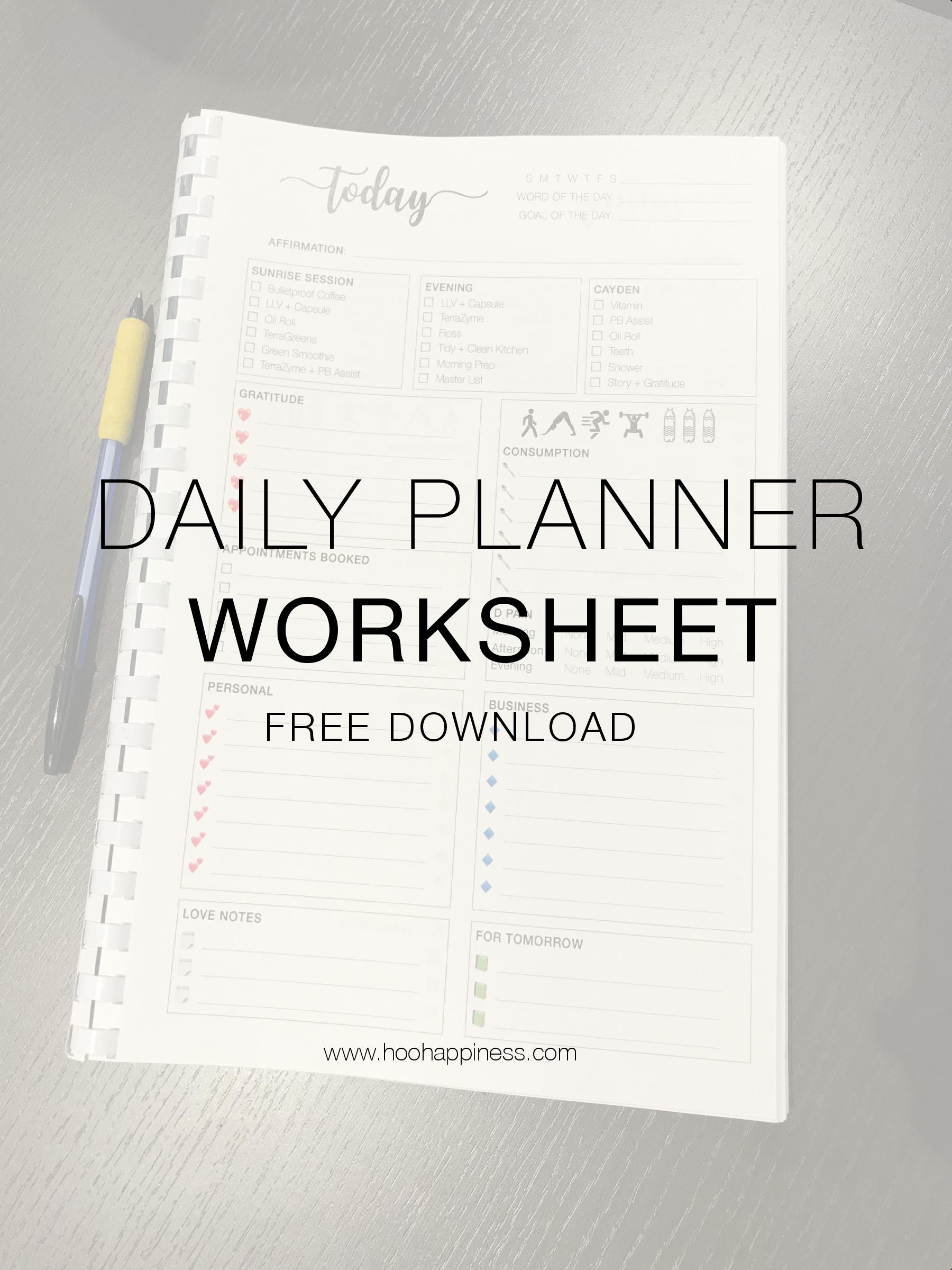 Free Downloadable Daily Planner Page