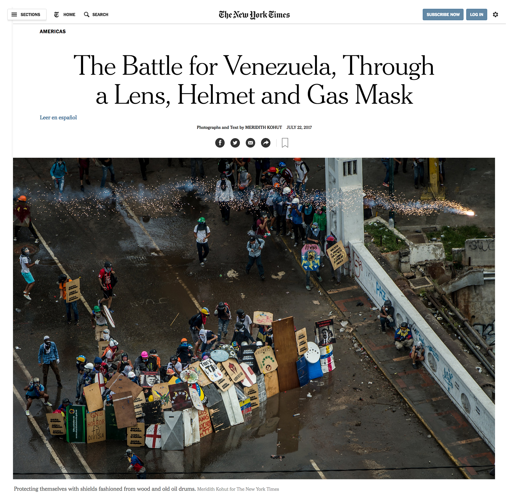 The 'Ahora o Nunca' shields we made, featured in the front page of the New York Times, 2017.
