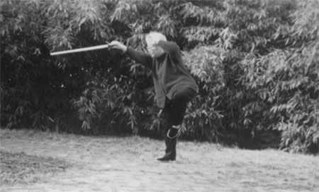 "Master Sun Shurong in the ""Blue Dragon Searching the Sea"" Tai Chi sword position"