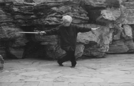 "Master Sun Shurong practicing the Tai Chi sword position ""Goose Lands on the Sands"""