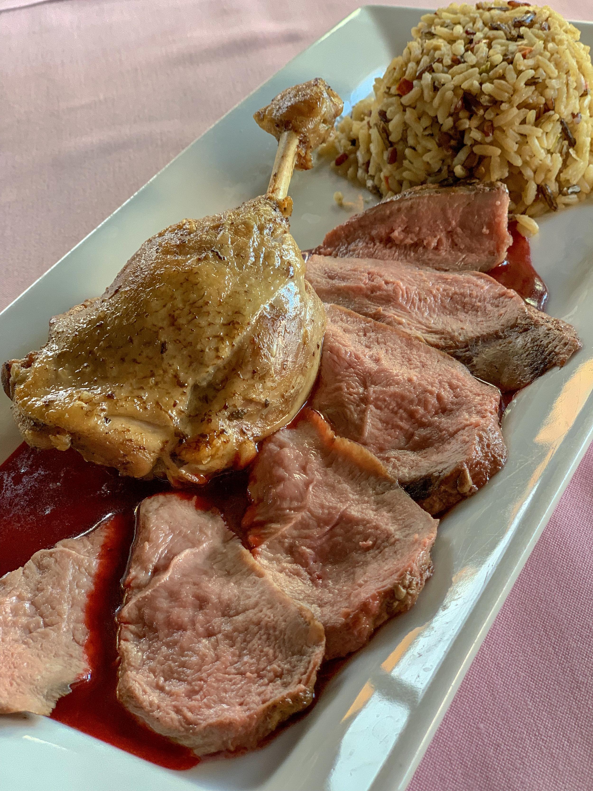 Le Magret de Canard & Cuisse Confite, Cranberry Raspberry Sauce