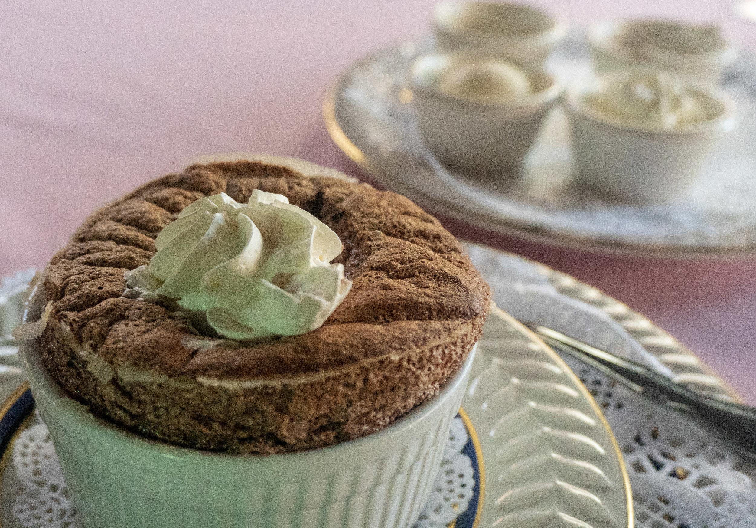 Chocolat Soufflé with House Vanilla Ice Cream & Chantilly