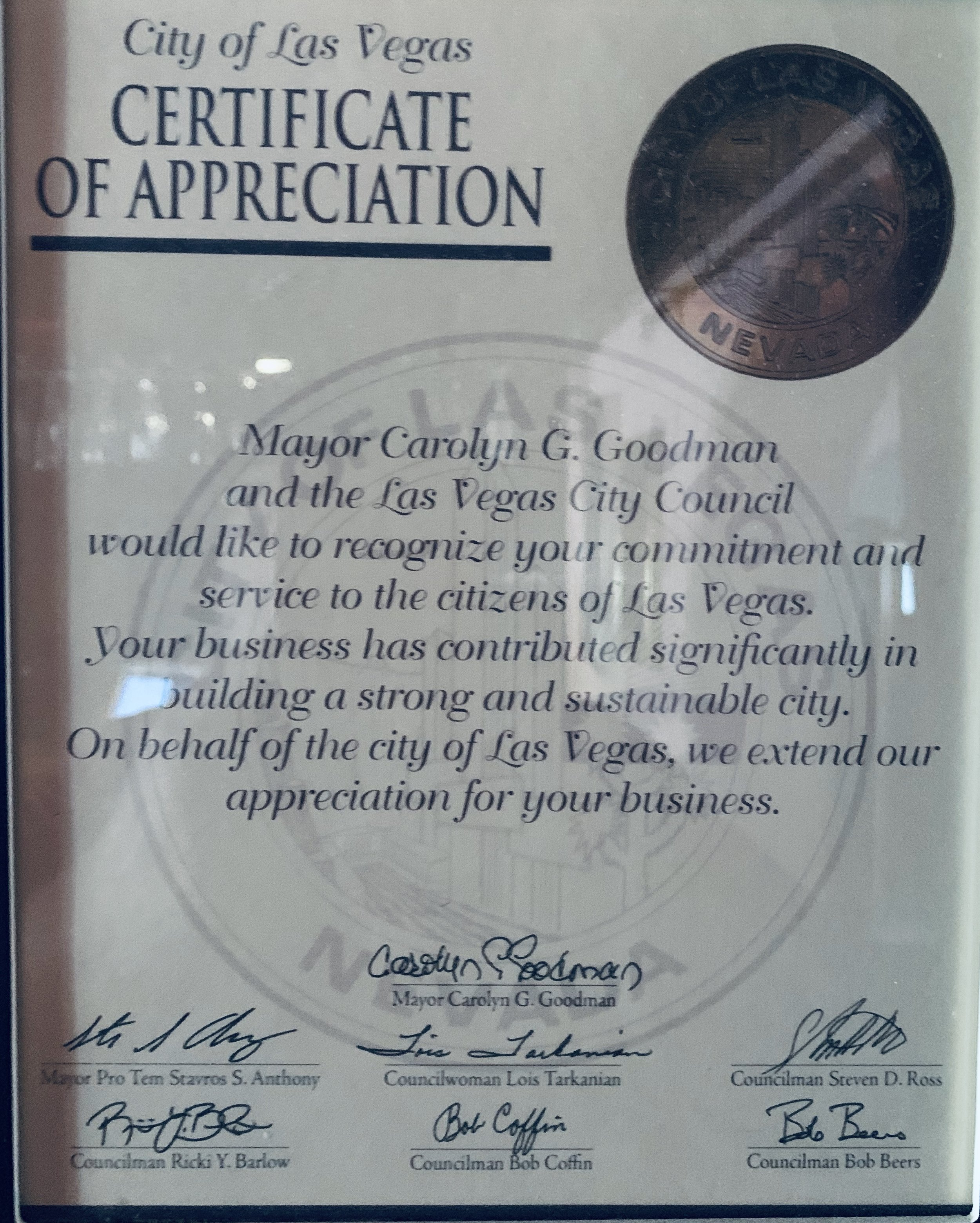 Award from the City
